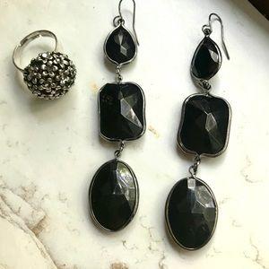 Torrid Black Earrings & Statement Ring